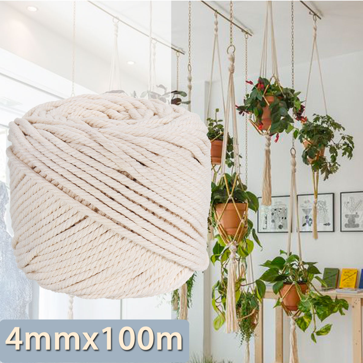 4mmx100m Natural Beige Cotton Twisted Cord Rope DIY Craft Macrame Woven String Braided Wire