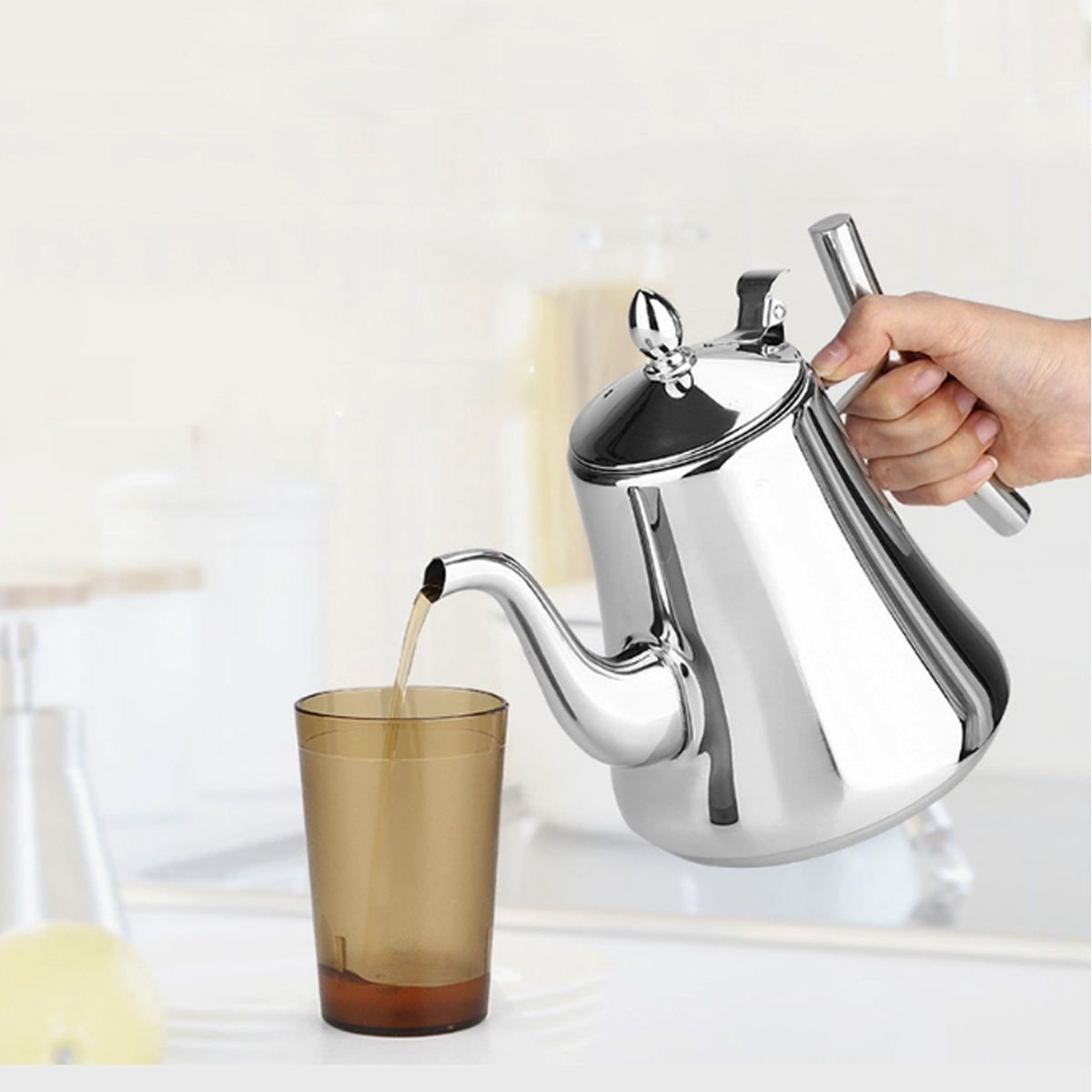 1L/1.5L Stainless Steel Kitchen Tea Pot Coffee Pot Water Kettle WithTea Infuser Strainer Filter