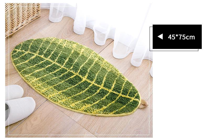 Honana WX-229 Green Leaves Design Mat TPE Bath Mat Doormat Anti-slip Carpet for Living Room Kitchen Bathroom Water-absorbing Rugs