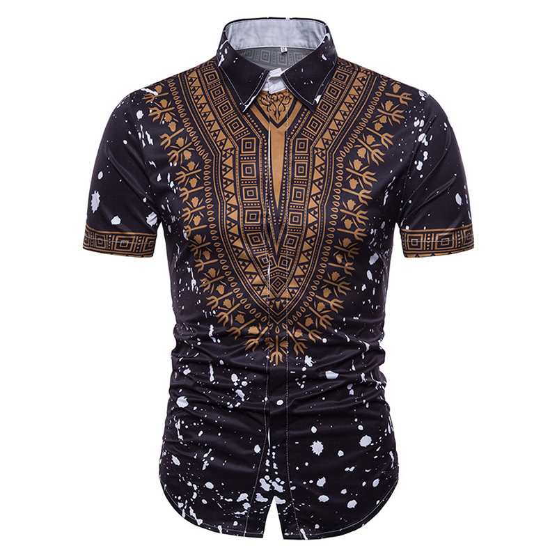 Mens Ethnic Style Printing Turn Down Collar Summer Shirts