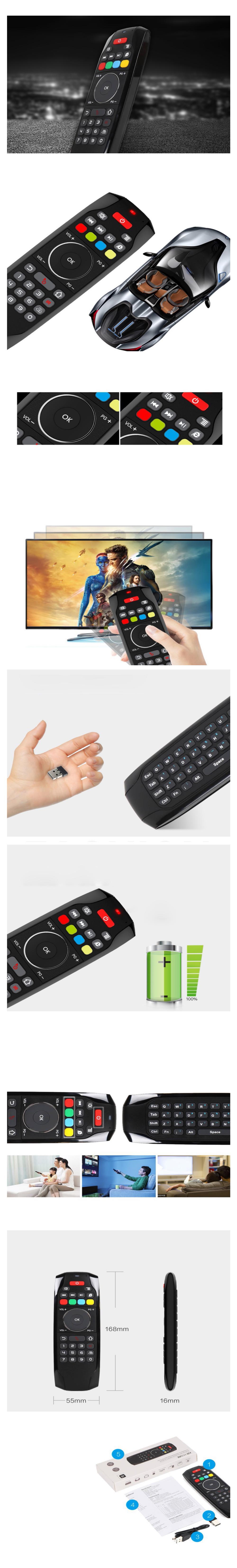 G7 2.4G Mini Keyboard Air Mouse 5-key Learning Double-sided Remote Controller
