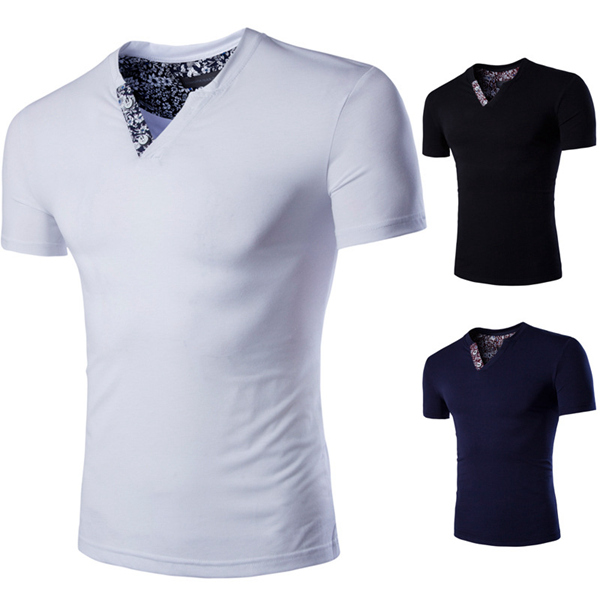 S-3XL Mens Summer Solid Color Double Collar T-shirt Sports Tops