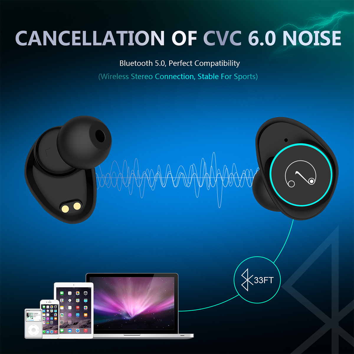 [bluetooth 5.0] TWS True Wireless Earphone CVC6.0 Noise Cancelling Waterproof Headphone with Mic