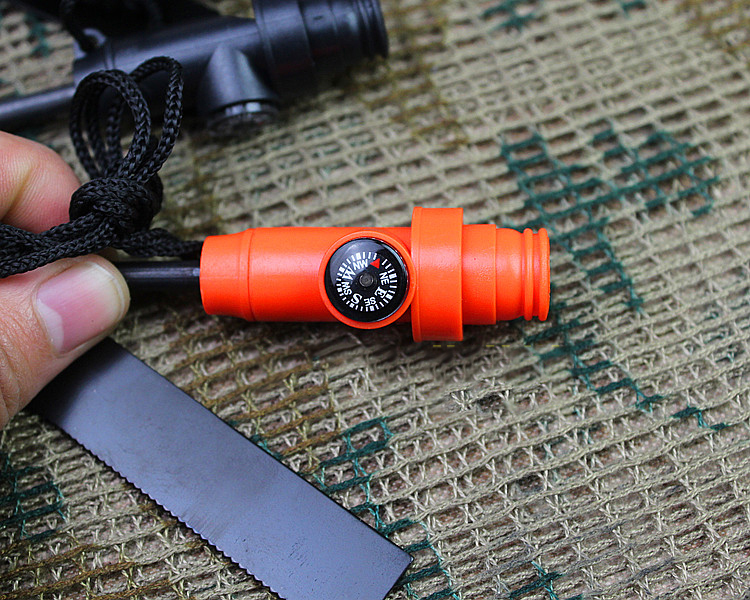 IPRee® 3 In 1 EDC Emergency Fire Starter Metal Rod Flintstone Camping Survival Whistle Compass