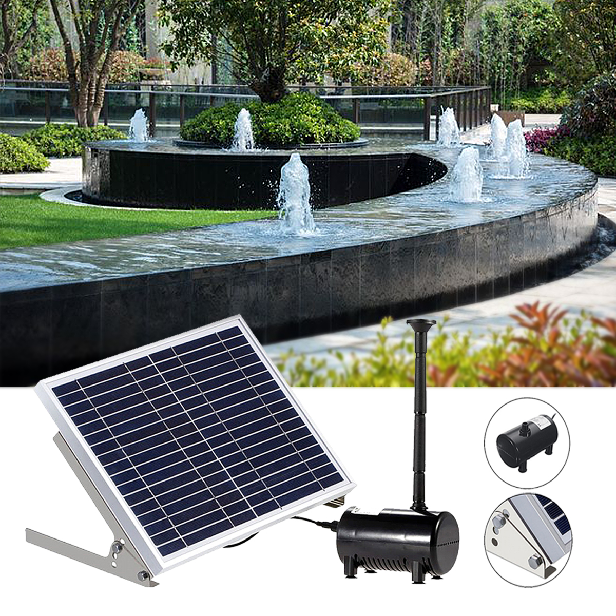 Solar Panel Powered Brushless Water Fountain Pump For Pond Garden Outdoor Submersible Kit