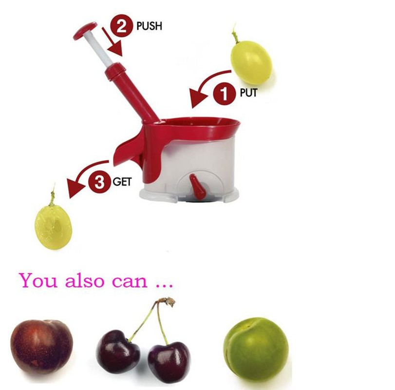 Honana Quality Cherry Pitter Fruit Seed Remover Machine Fruit Nuclear Corer With Container Kitchen Accessories Gadgets Tool for Kitchen Vegetable Stripper
