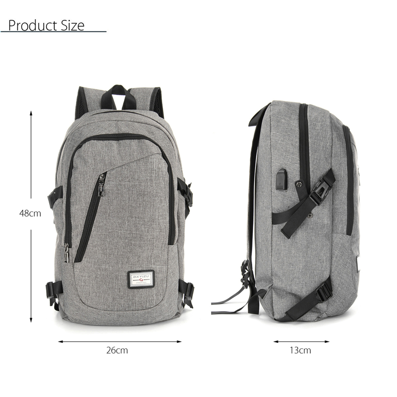 USB Charge Interface Casual Shoulder Canvas Bags Men Laptop Notebook Backpack