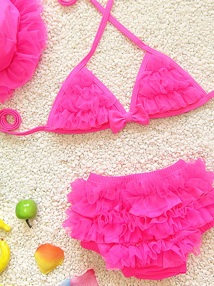 Cute Girls Halter Fluffy Lace-trim Bikini Bowknot Three Pieces Bathing Swimsuit
