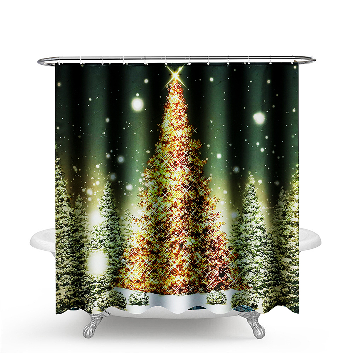 1 8m Christmas Waterproof Bathroom Shower Curtain Gold Xmas Tree Decor 12 Hook