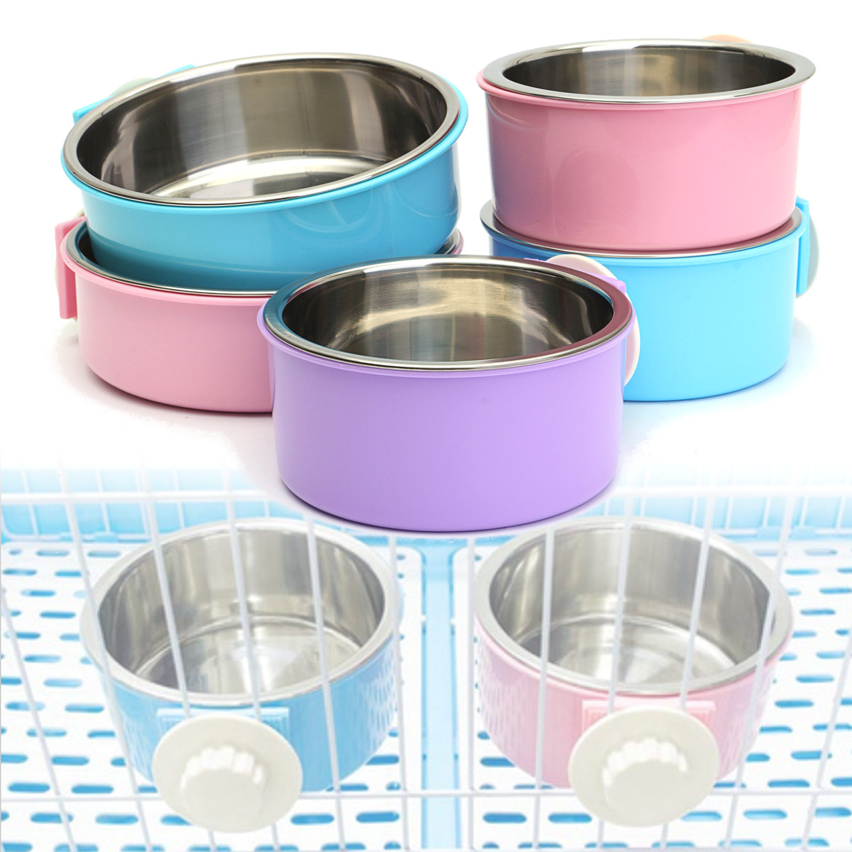 Stainless Steel Dog Cat Bird Puppy Pet Hanging Cage Bowl Feeding Water Food