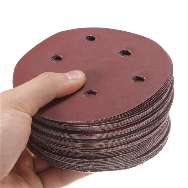 50pcs 125mm Abrasive Sand Discs Sanding Paper 6 Holes Sanding Discs 40-800 Grit Sand Paper