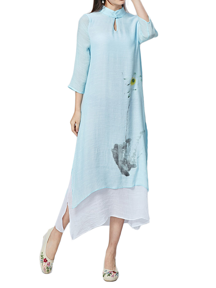 Vintage Painting Printed Stand Collar Slit Women Linen Maxi Dress