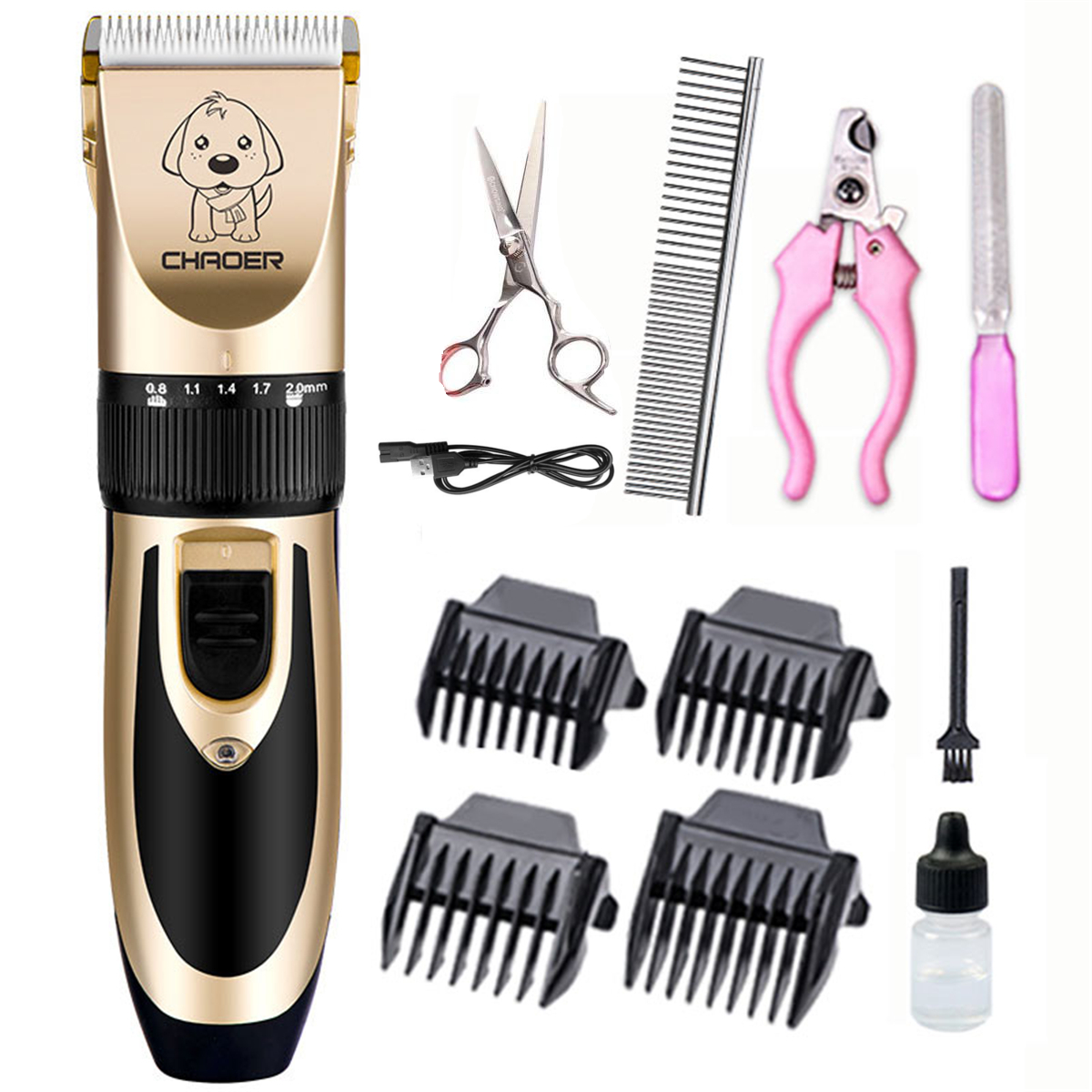 Pet Dog Clipper Grooming Trimmer Hair Professional Scissors Electric Shaver Kit
