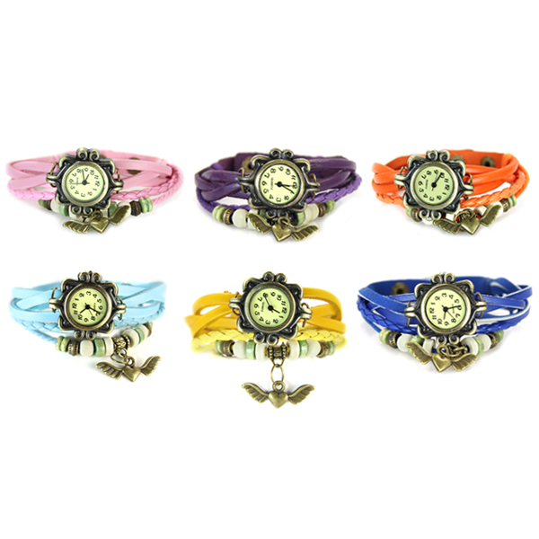 Women Girls Retro Braided Bracelet Wing Heart Wrist Watch