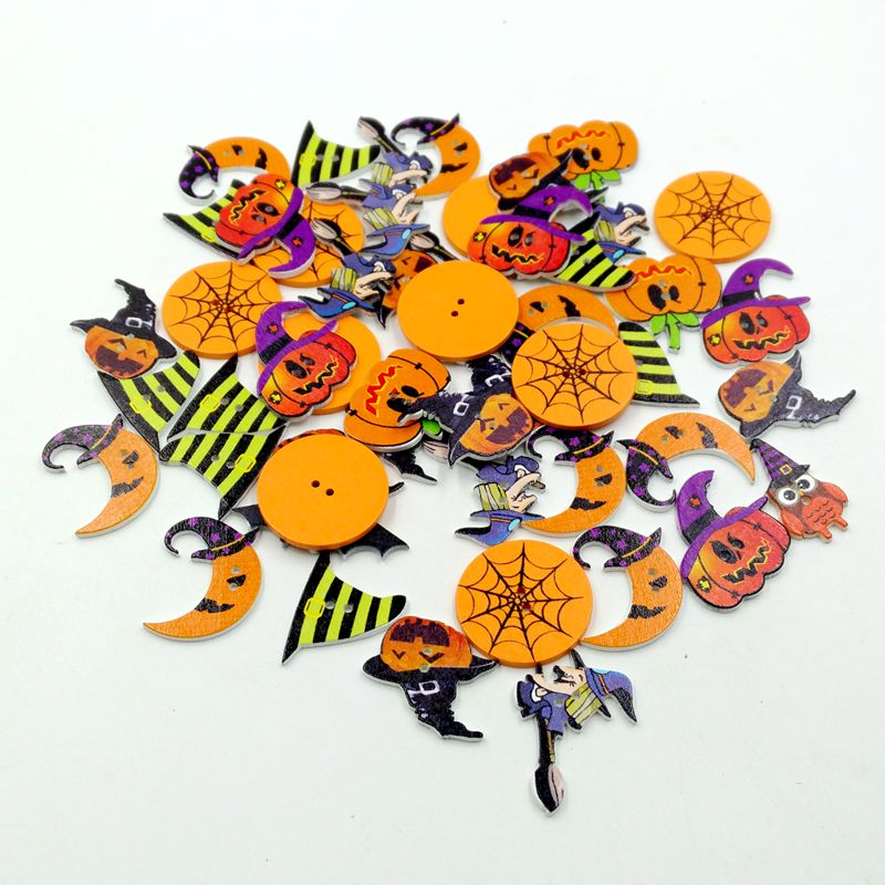 50 pcs Mix Wooden Halloween Buttons Lot Craft Kids Sewing Embellishment Buttons