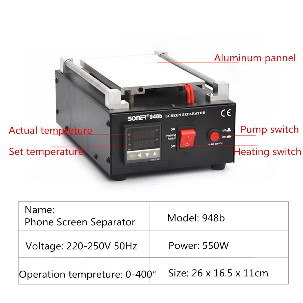 7inch Mobile Phone LCD Glass Screen Separator Repair Machine Built-in Vacuum Pump