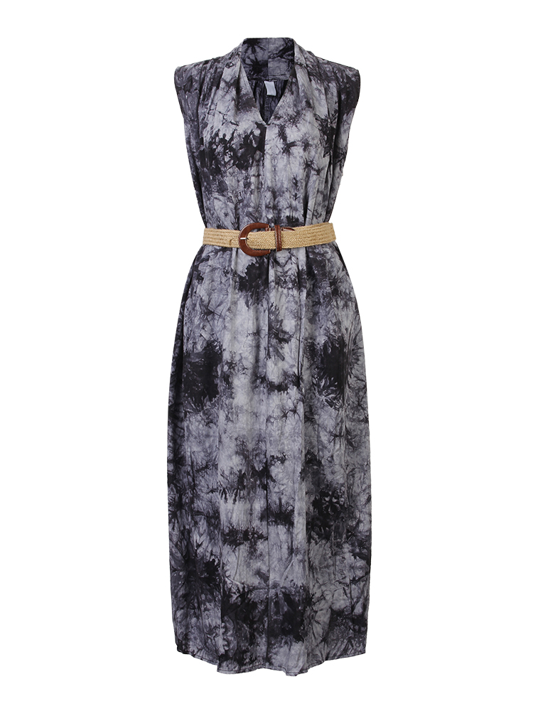 Vintage Women Sleeveless Tie-dyed Printing Dress With Belt