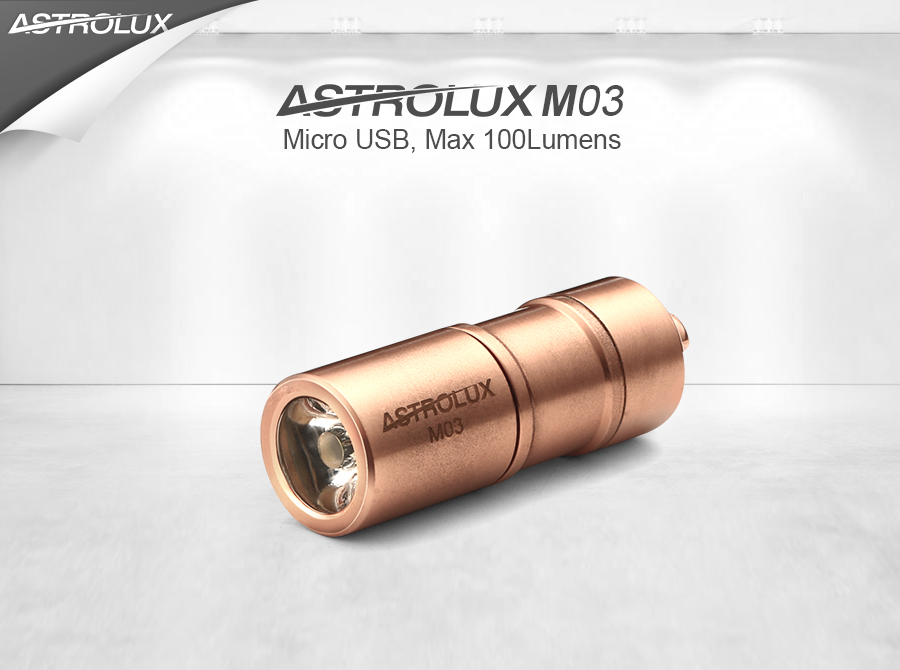 Astrolux M03 Copper XP-G2/XP-G3/nichia 219B 100LM USB Mini LED Flashlight