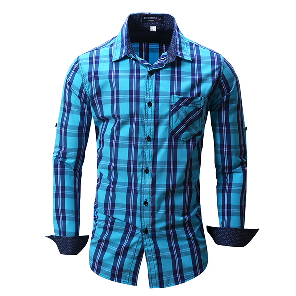 Mens Plaid Fashion Casual Sticthing Long Sleeve Single-Breasted Fit Cotton Turn-Down Collar Shirt