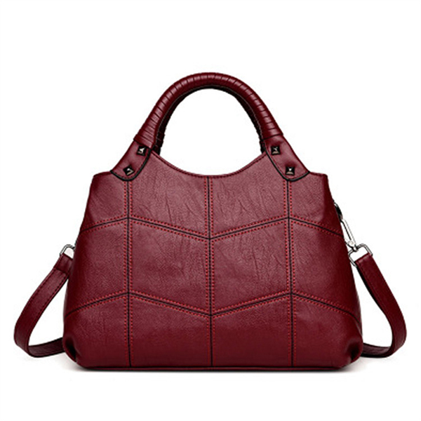 Details: Material PU Leather Color Black, Gray, Red, Purple Weight 700g Length 30cm (11.81'') Height 22cm(8.66'') Width 11.5cm(4.53'') Handle Height 11.5cm(4.53'') Inner Pocket Main Pocket, Zipper Pocket,Phone Pocket, Card Pocket Closure Zipper Package in #handbag