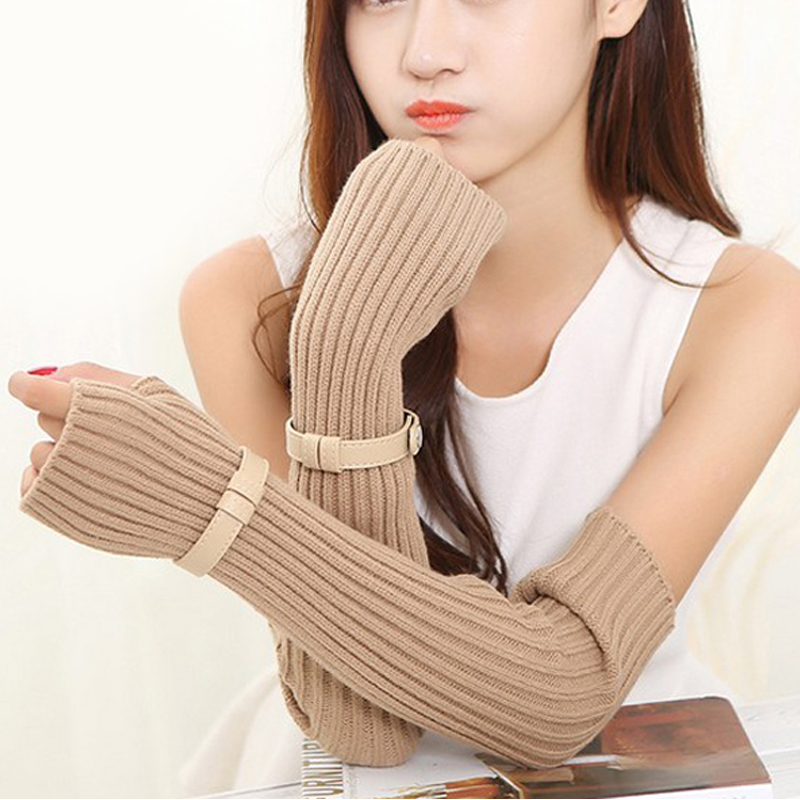 Fingerless Stripe Design Knitted Long Gloves