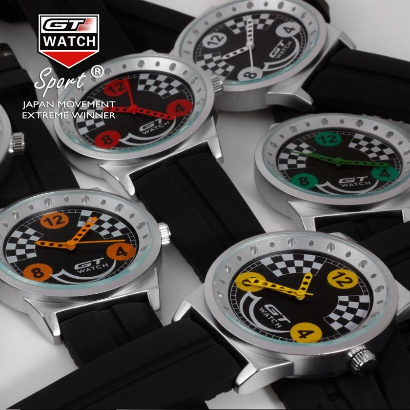 GT 001 Men Sport Fashion Silica Gel Strap Racing Car Style Quartz Wrist Watch
