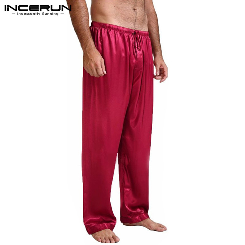 INCERUN Mens Faux Silk Satin Pajamas Loose Yoga Trousers