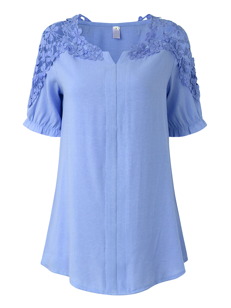 Women Short Sleeve Lace Hollow Blouse V-Neck Casual Top