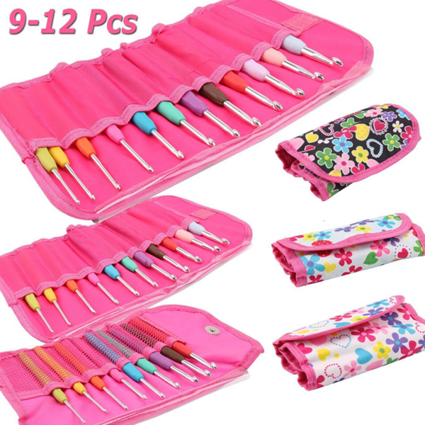 9/11/12Pcs Crochet Hook Set Knitting Needle Yarn Handle Organiser Case Set Tool
