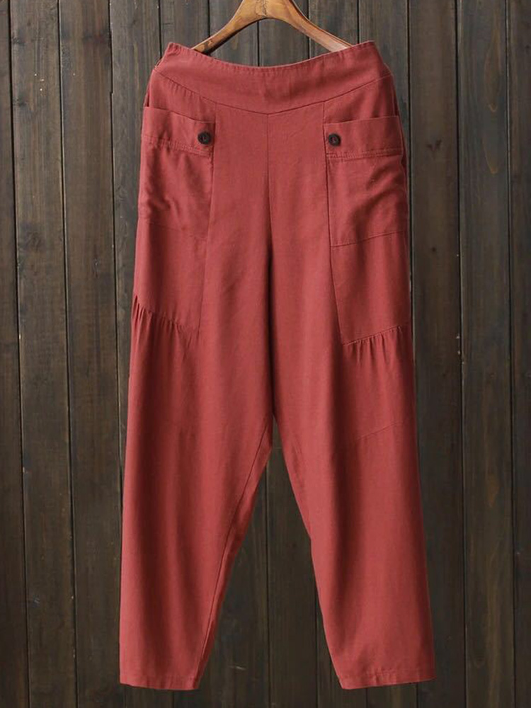 Retro Women Cotton Linen Elastic Waist Trousers Pants