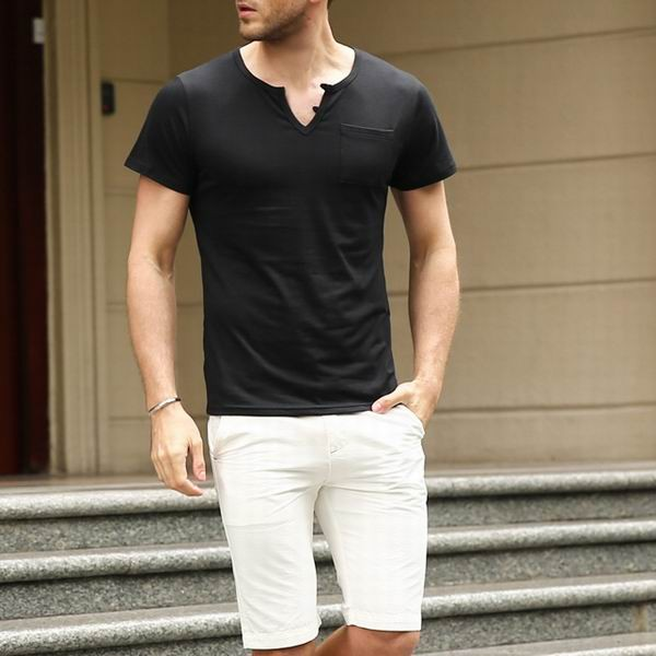 Summer Mens V Neck Solid Color Base Essential Tshirts Brief Short Sleeved T Shirts