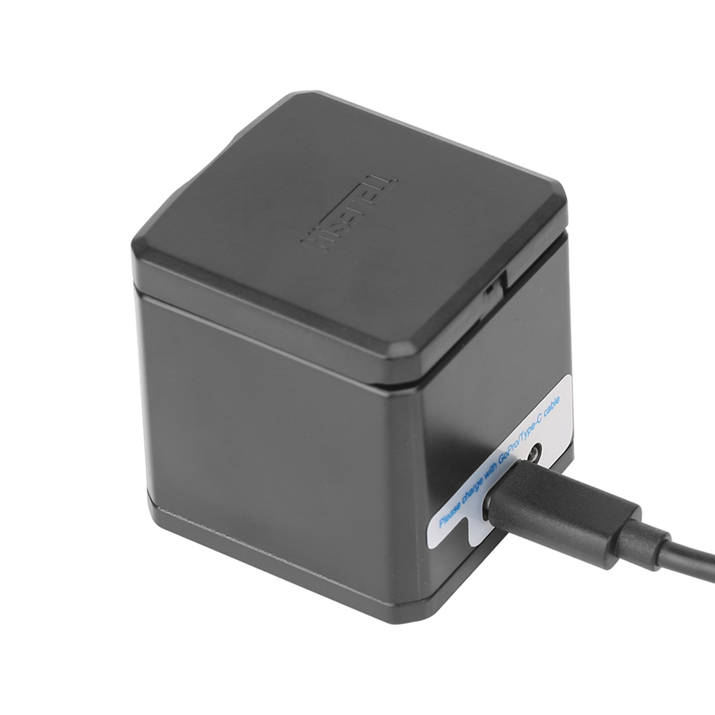 TELESIN 3-Channel Battery Charger 3 Port with USB Type-C Cable for GoPro Hero 5 6 Storage Box