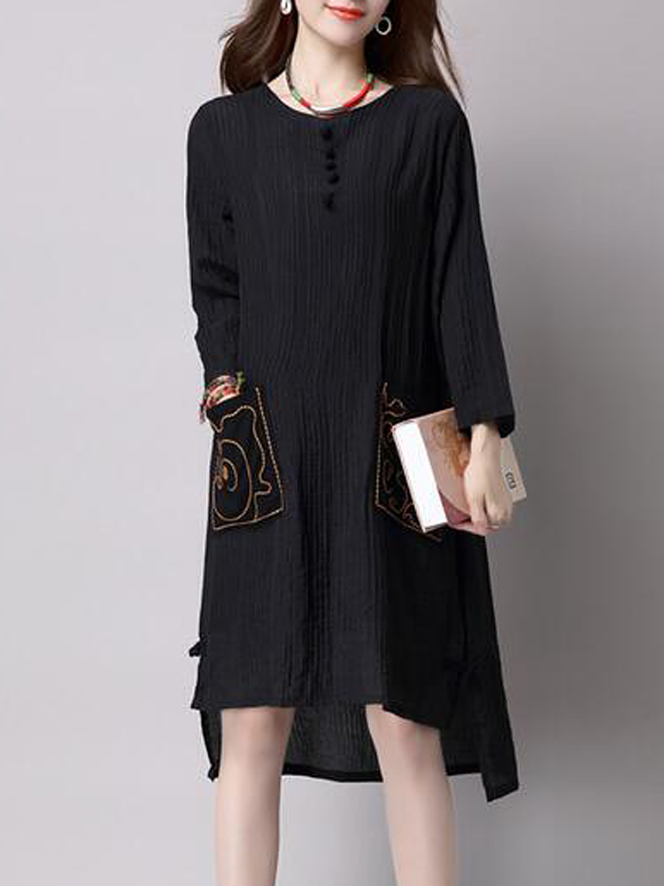 Vintage Embroidery Pocket Long Sleeve Loose Women Dress