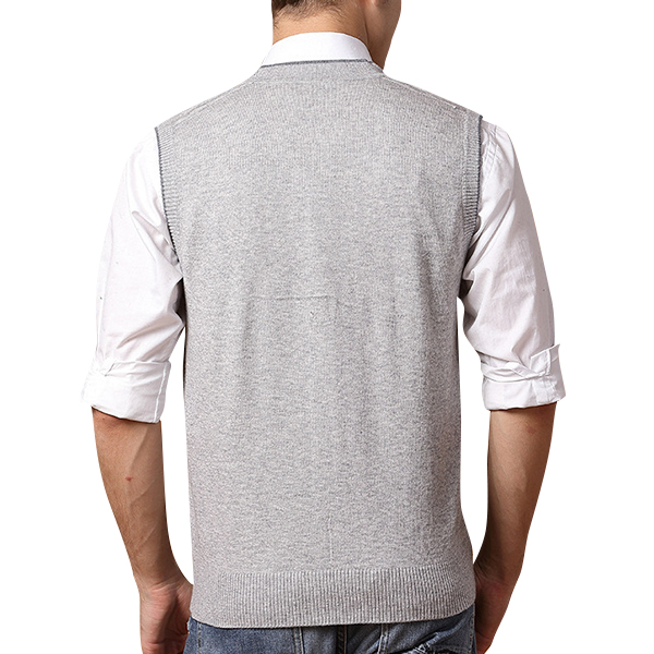 Men's Leisure Woolen Knitted Cardigan Vest Fashion V-neck Jacquard Vest