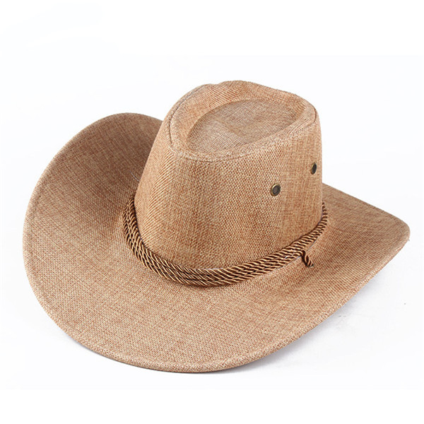 Men Western Cowboy Hat Outdoor Wide Brim Linen Hat