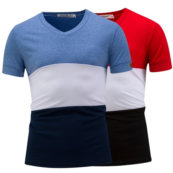 Mens Summer V-Neck T-shirts 3 Colors Stitching Wild Tops Tees Short Sleeve Cotton Fit T-shirts