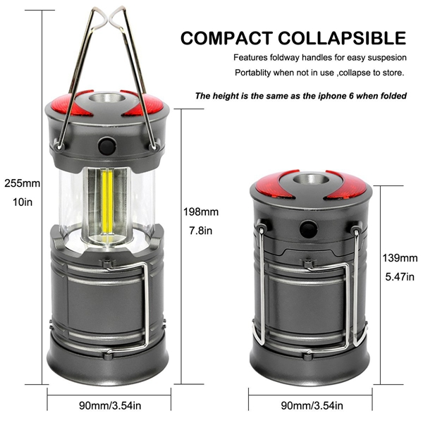 ARILUX® Portable Collapsible COB Camping Lantern Battery Powered Magnetic Flashlight for Emergency
