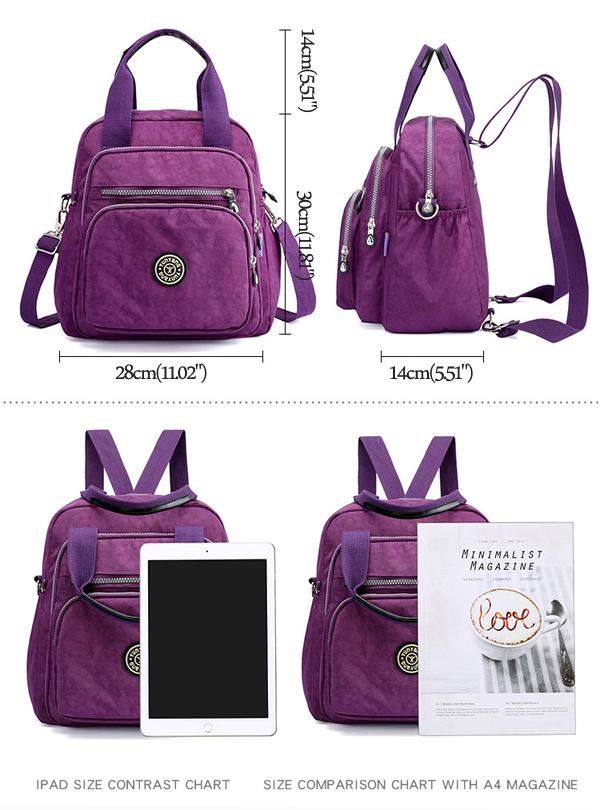 Women Lady Nylon Elegant Stylish Multipurpose Backpack ...