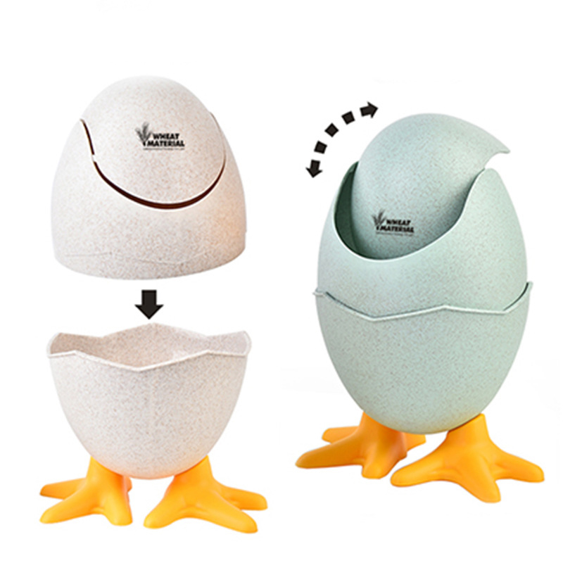 Mini Waste Bins Desktop Shaking Garbage Bucket Table Home Office Egg Shape Trash Can