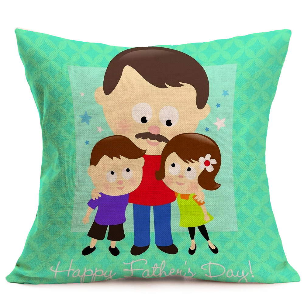 Honana WX-P4 43x43cm Father's Day Gift Flower Cotton Linen Pillow Case Cushion Cover Home Car Decor