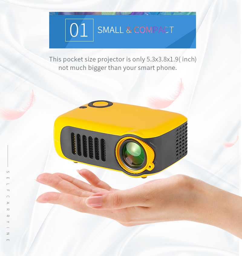 TRANSJEE A2000 Projector 800 Lumens 1000:1 Contrast Ratio 320*240P Native Resolution Supported 1080P 23 Languages Home Theater Video Projector