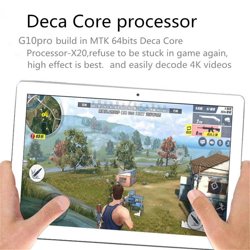 Binai G10pro 32GB MT6797 Helio X20 Deca Core 10.1 Inch Android 8.0 Dual 4G Tablet Black