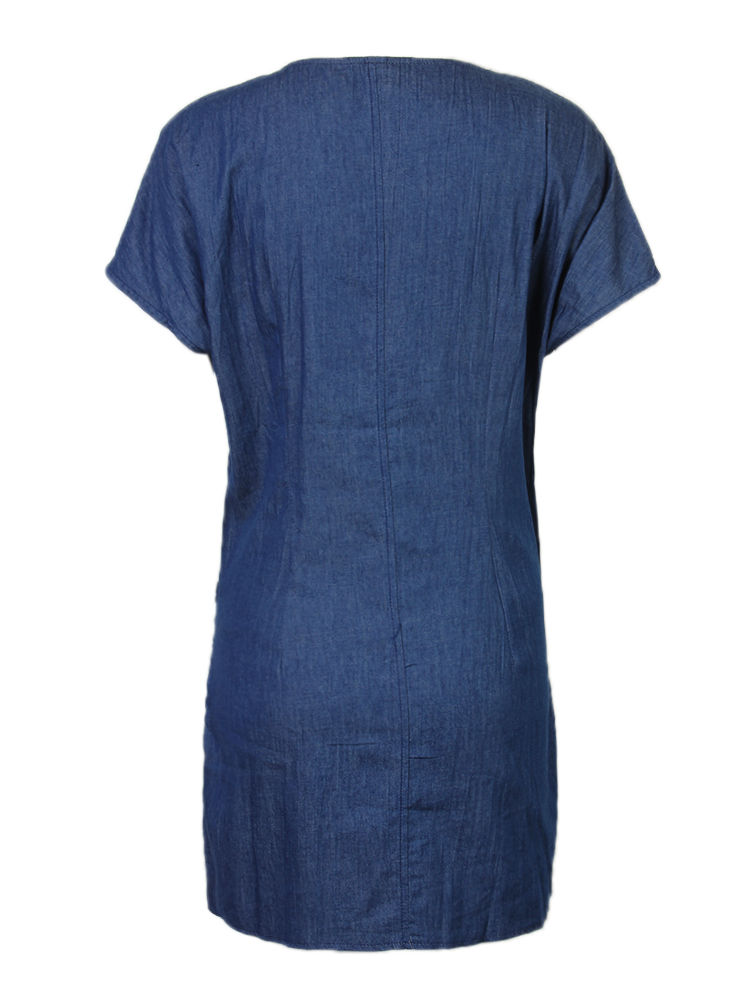Casual Women Short Sleeve Denim Irregular Bowknot Belt Mini Dress