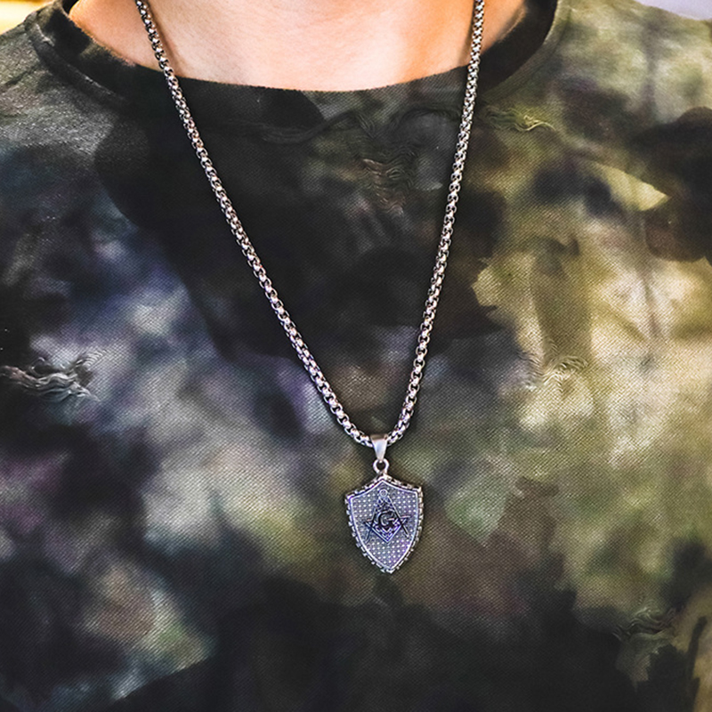 Pendant Necklace Geometric Shield Stainless Steel Chain