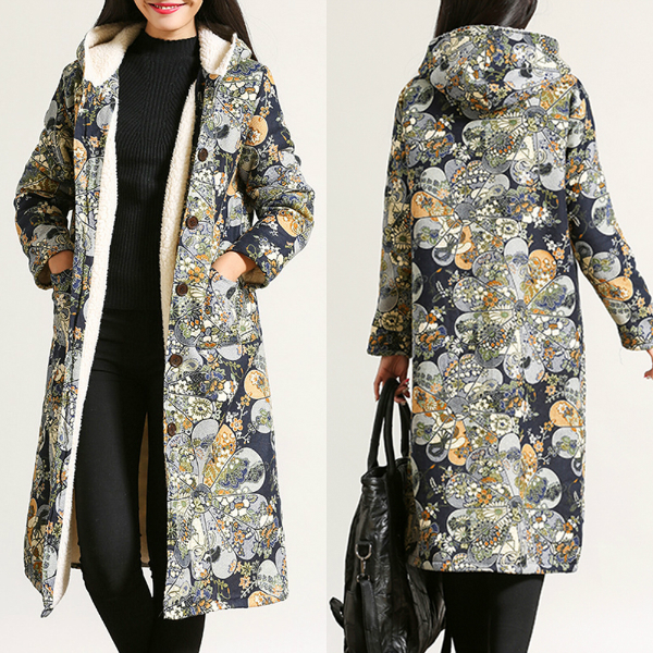 Floral Print Single Breasted Long Sleeve Hooded Coats for Women