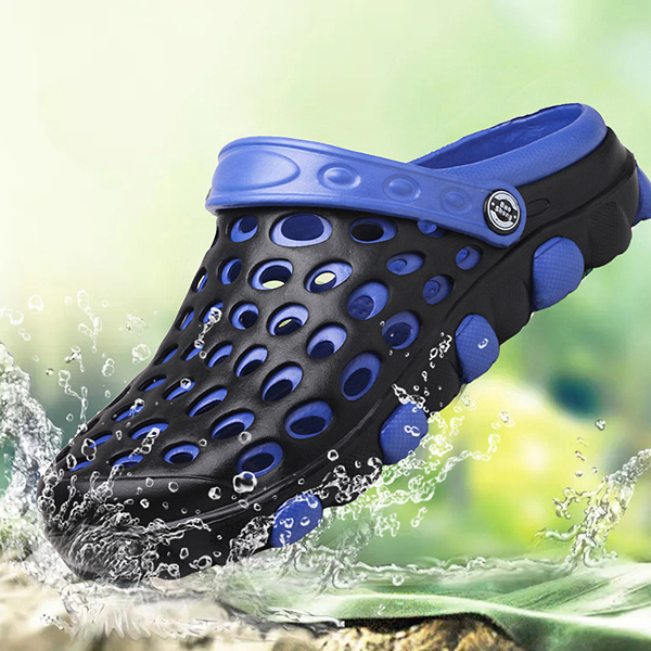 Men Hole Breathable Beach Sandals Slip On Waterproof Garden Shoes