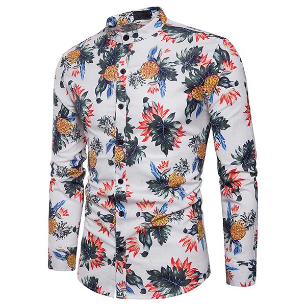 Pineapple Printing Mandarin Collar Cotton Band Collar Shirt