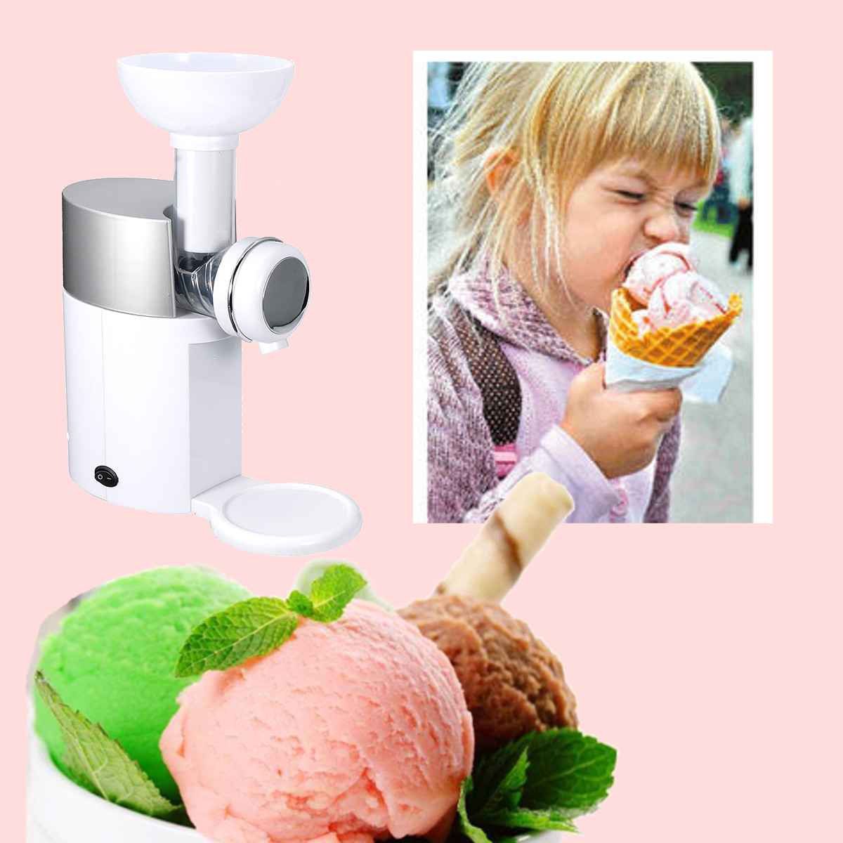 220V Red/White 500ml Fruit Ice Cream Maker Machine Automatic Frozen Dessert Maker Device