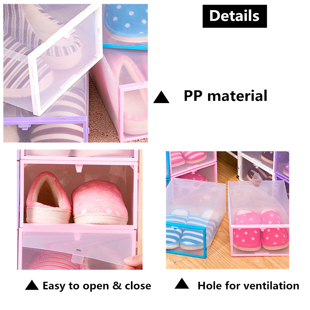 PP Clear Foldable Plastic Shoe Storage Boxes Stackable Tidy Case Home Organizer Display Single Box