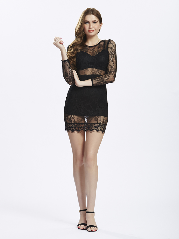 Black Women Lace Hollow Patchwork Long Sleeve Sexy Dresses